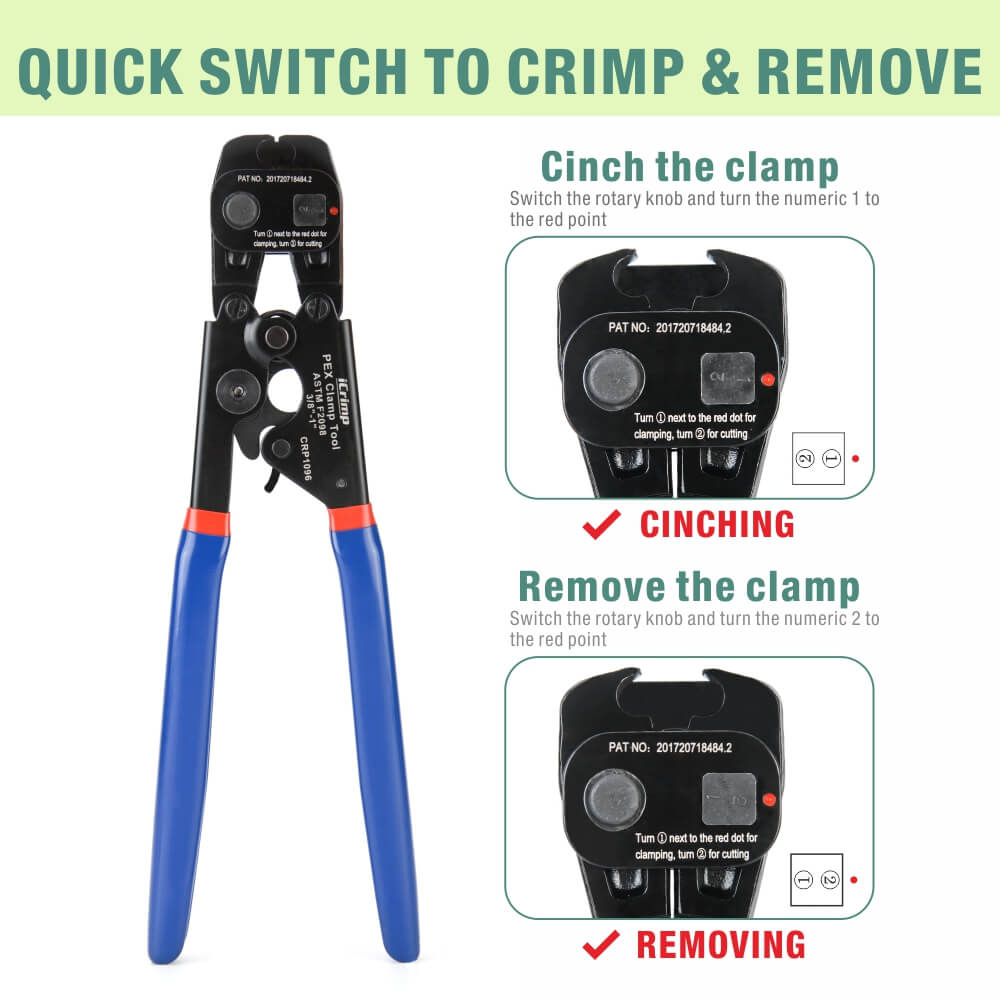 PEX Cinch Tool with Removing function for 3//8-inch 1-inch Stainless Steel Clamp