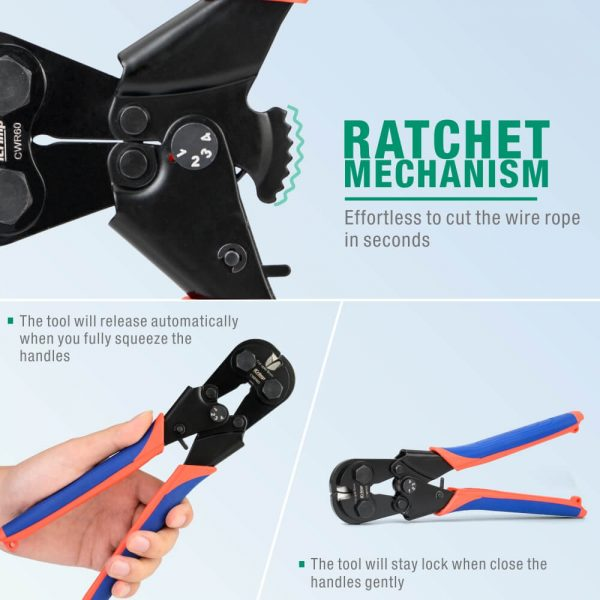 iCrimp wire rope cutter CWR60 ratchet mechanism